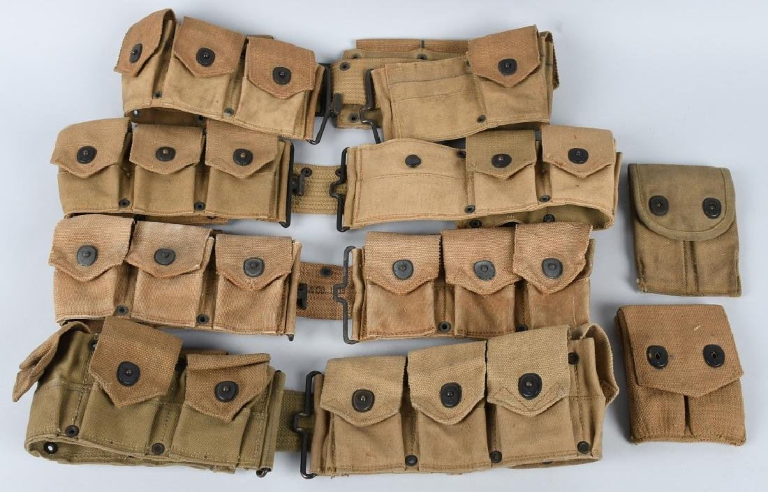 WWI US ARMY RIFLE BELT & .45 POUCH LOT 1916 - 1918