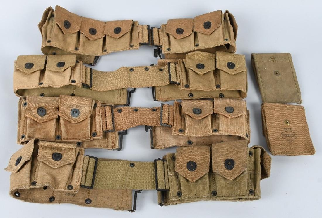 WWI US ARMY RIFLE BELT & .45 POUCH LOT 1916 - 1918 - 2
