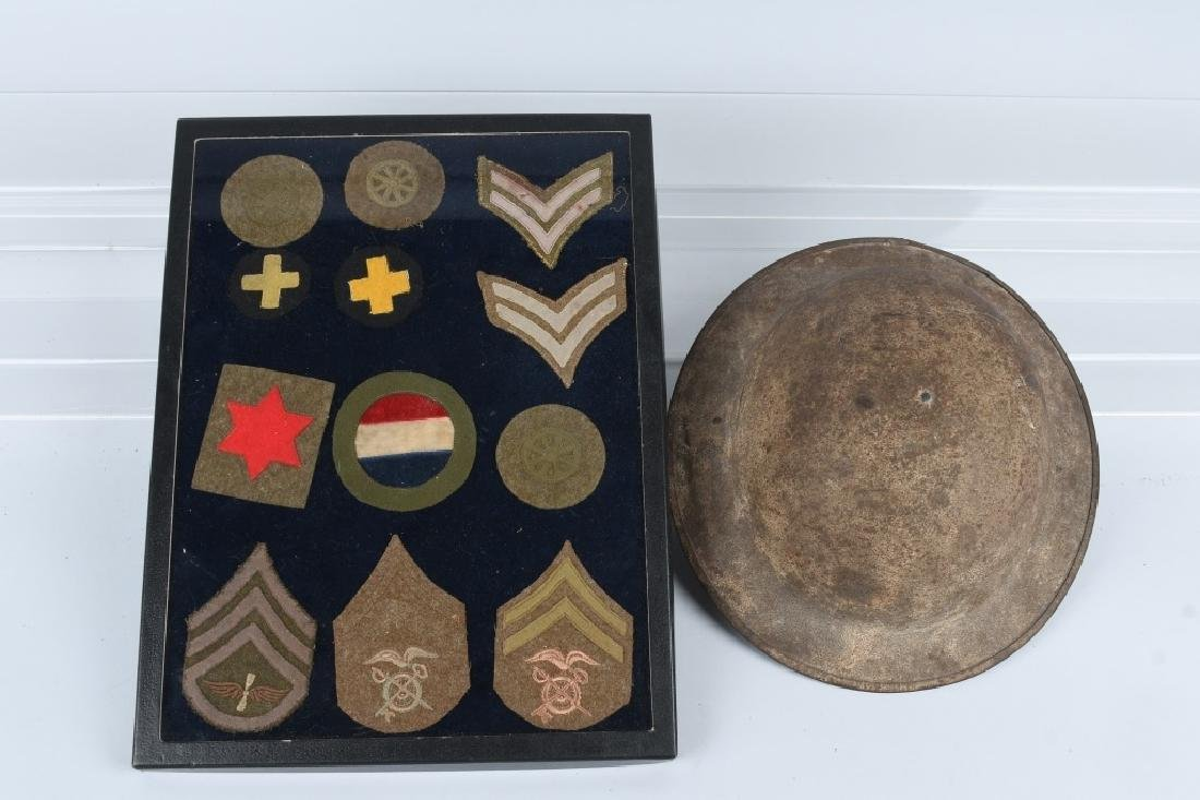 WWI US M 1917 HELMET AND PATCH LOT
