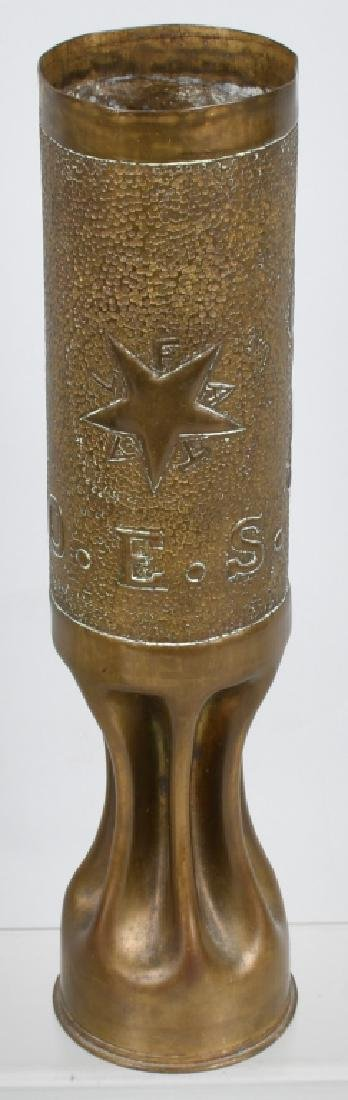 WWI 75MM TRANCH ART SHELL MASONIC O.E.S. - FATAL