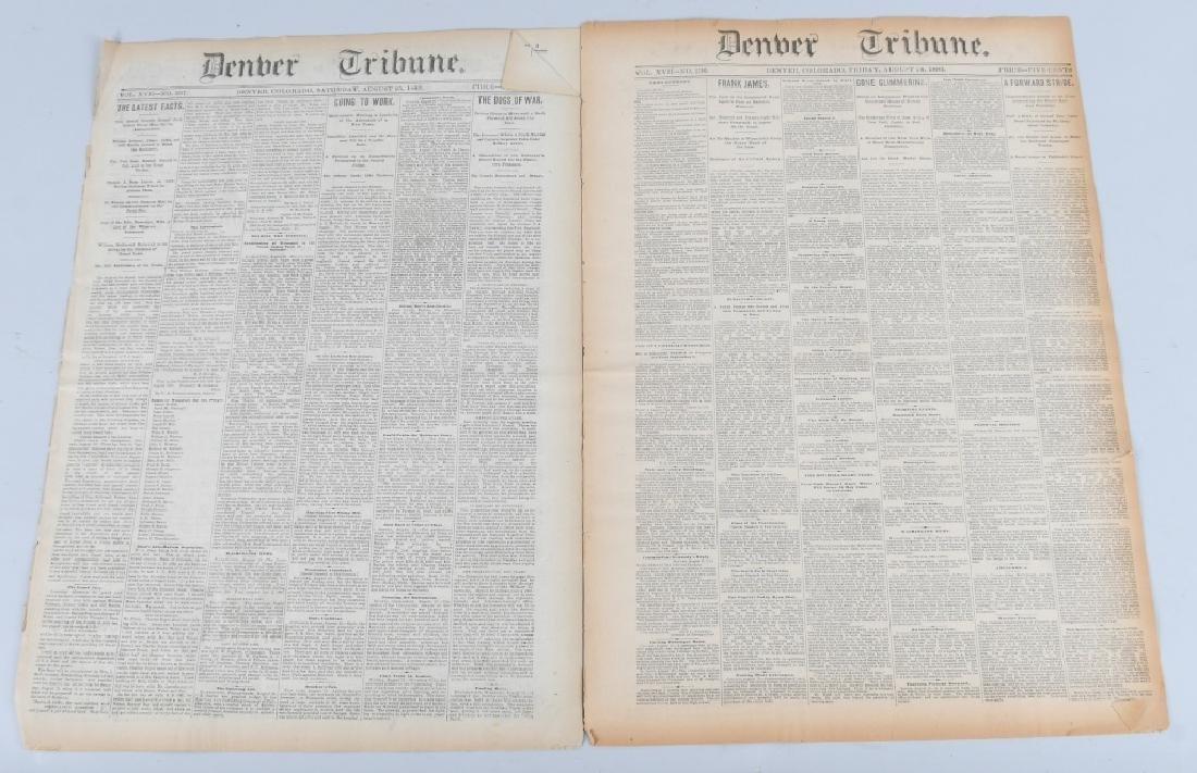 1883 DENVER TRIBUNE NEWSPAPERS - FRANK JAMES TRIAL