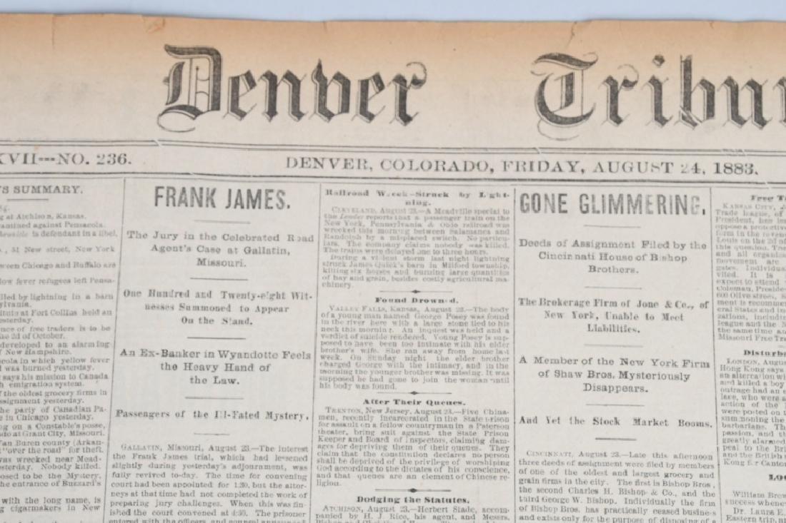 1883 DENVER TRIBUNE NEWSPAPERS - FRANK JAMES TRIAL - 2