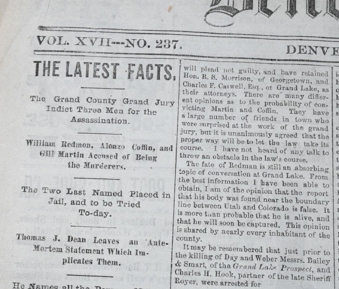 1883 DENVER TRIBUNE NEWSPAPERS - FRANK JAMES TRIAL - 6