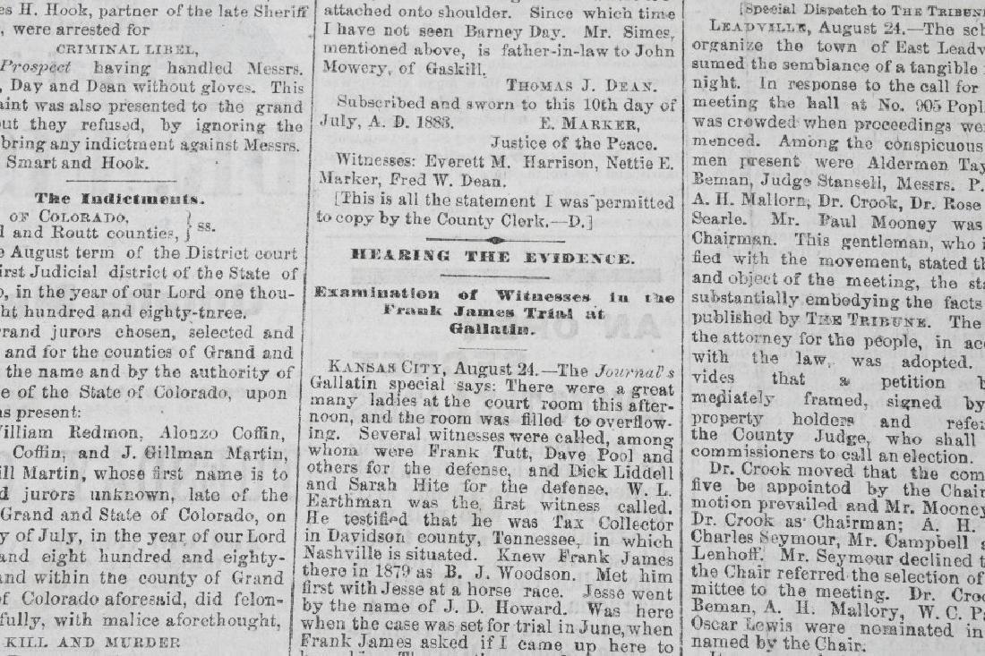 1883 DENVER TRIBUNE NEWSPAPERS - FRANK JAMES TRIAL - 7