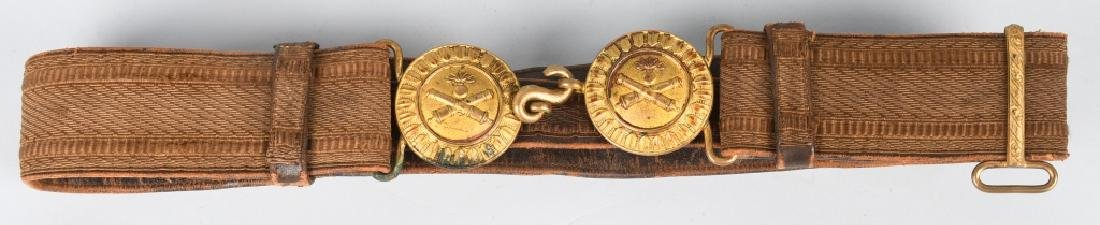 WWI ERA ARTILLERY BELT & BUCKLE CROSSED CANNONS