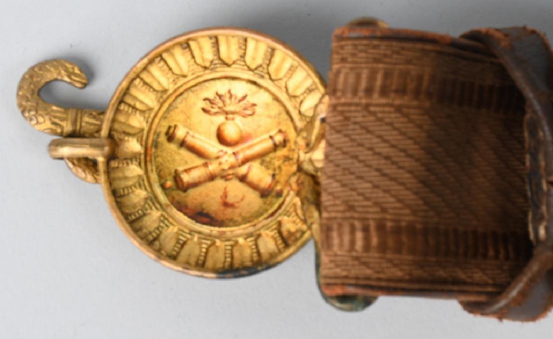 WWI ERA ARTILLERY BELT & BUCKLE CROSSED CANNONS - 4