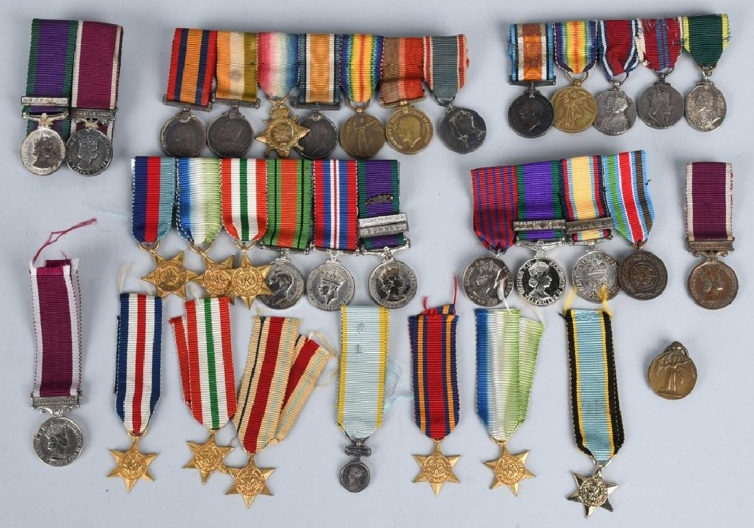 WWI - WWII BRITISH MINIATURE MEDAL BARS & MEDALS