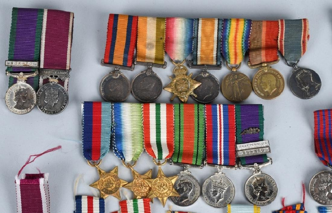 WWI - WWII BRITISH MINIATURE MEDAL BARS & MEDALS - 2