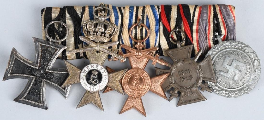 WWI - WWII MEDAL BAR BAVARIAN WAR MERIT MEDALS ETC