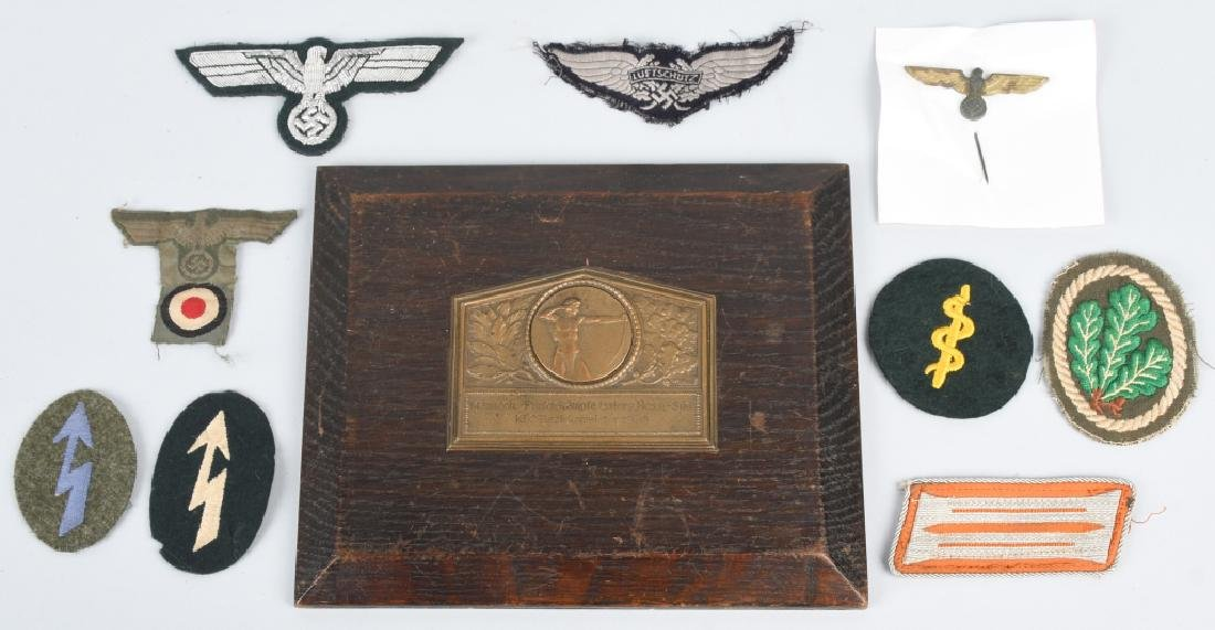 WWII NAZI GERMAN PLAQUE & MISC INSIGNIA