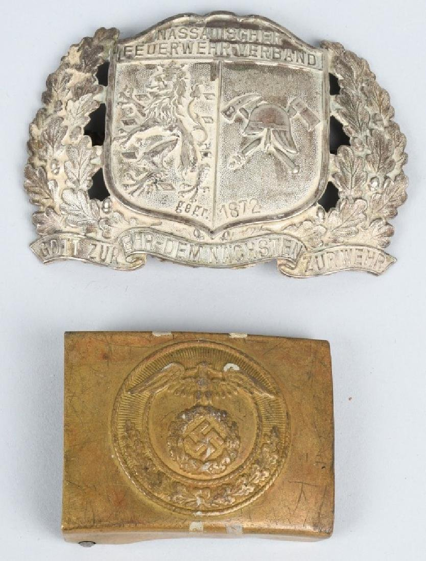 WWII NAZI GERMAN SA BUCKLE & WWI FIRE POLICE PLATE