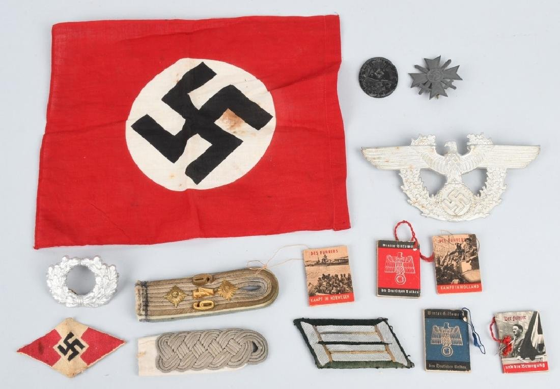 WWII NAZI GERMAN FLAG MEDAL AND INSIGNIA LOT