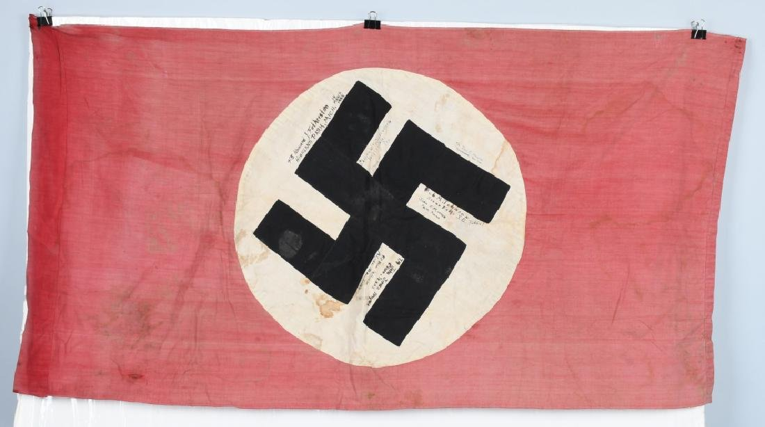 WWII NAZI GERMAN FLAG -1945 CAPTURED & GI SIGNED