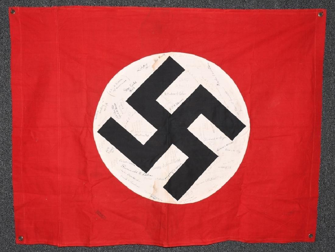 WWII NAZI VEHICLE ID FLAG GI SIGNED 84 SIGNAL CO.