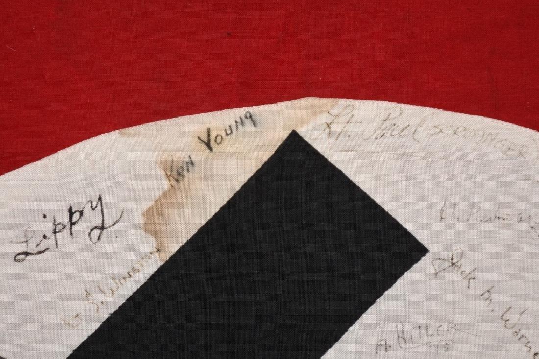 WWII NAZI VEHICLE ID FLAG GI SIGNED 84 SIGNAL CO. - 3