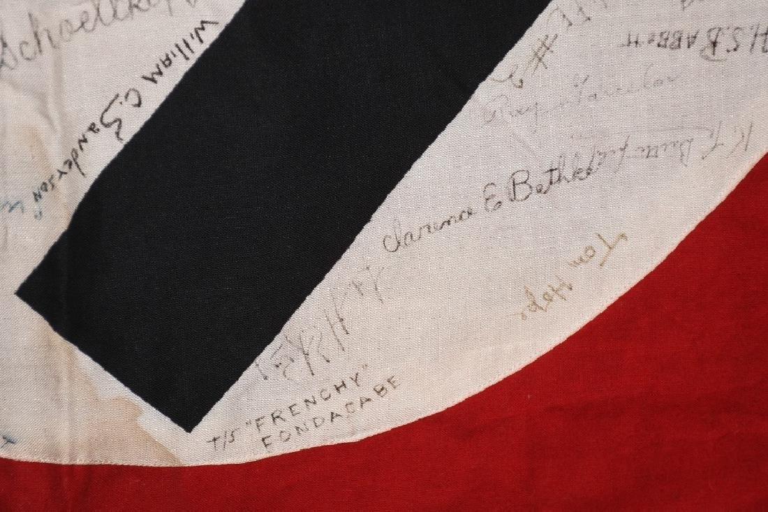 WWII NAZI VEHICLE ID FLAG GI SIGNED 84 SIGNAL CO. - 8
