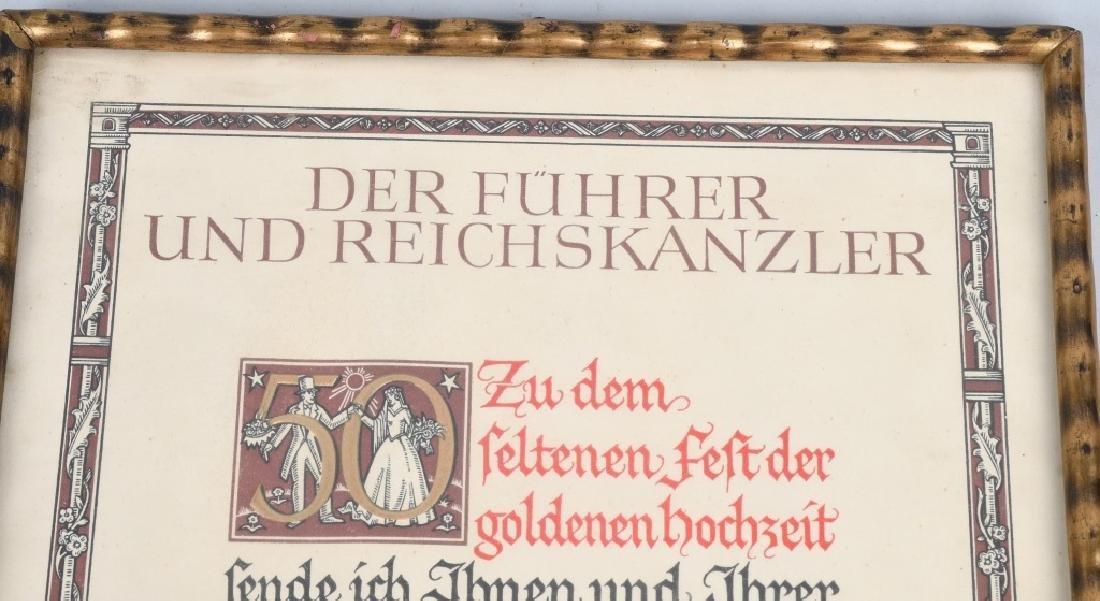 WWII NAZI GERMAN 50TH WEDDING ANNIVERSERY DOC. - 2