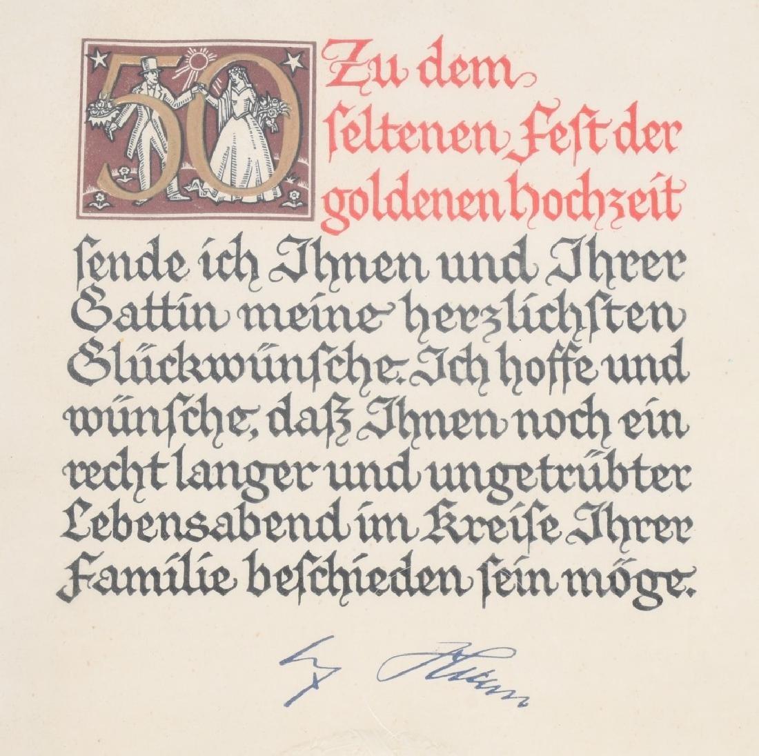 WWII NAZI GERMAN 50TH WEDDING ANNIVERSERY DOC. - 3