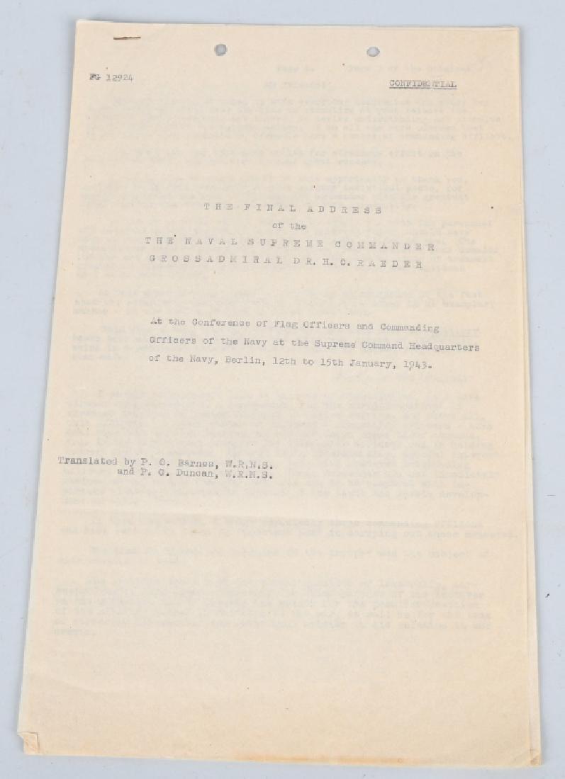 WWII US SECRET COPY GERMAN KRIEGSMARINE ADDRESS 43