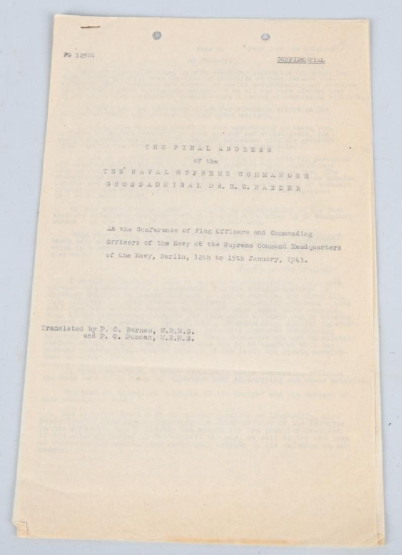 WWII US SECRET COPY GERMAN KRIEGSMARINE ADDRESS 43