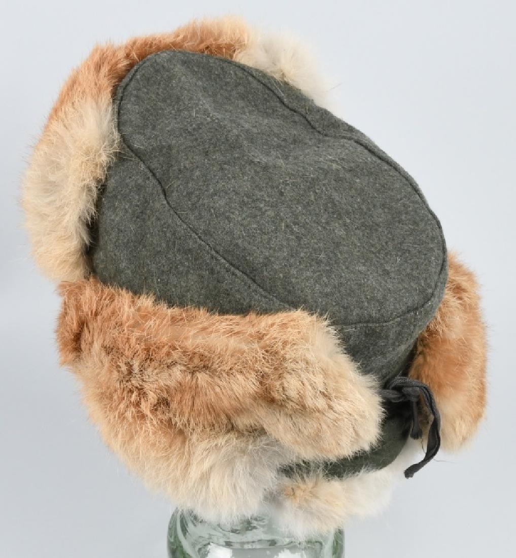 WWII NAZI GERMAN ARMY WINTER FUR HAT - 2