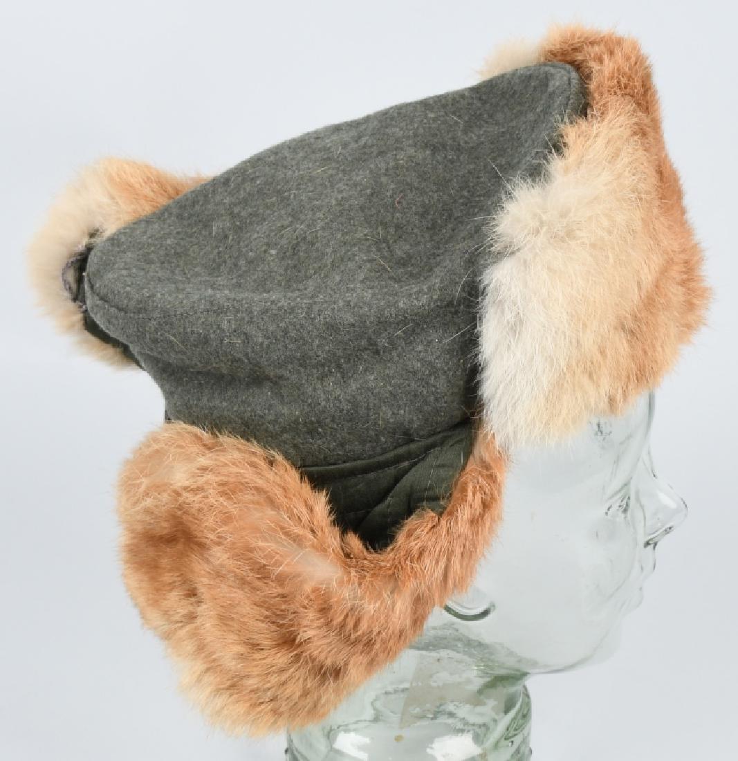 WWII NAZI GERMAN ARMY WINTER FUR HAT - 3