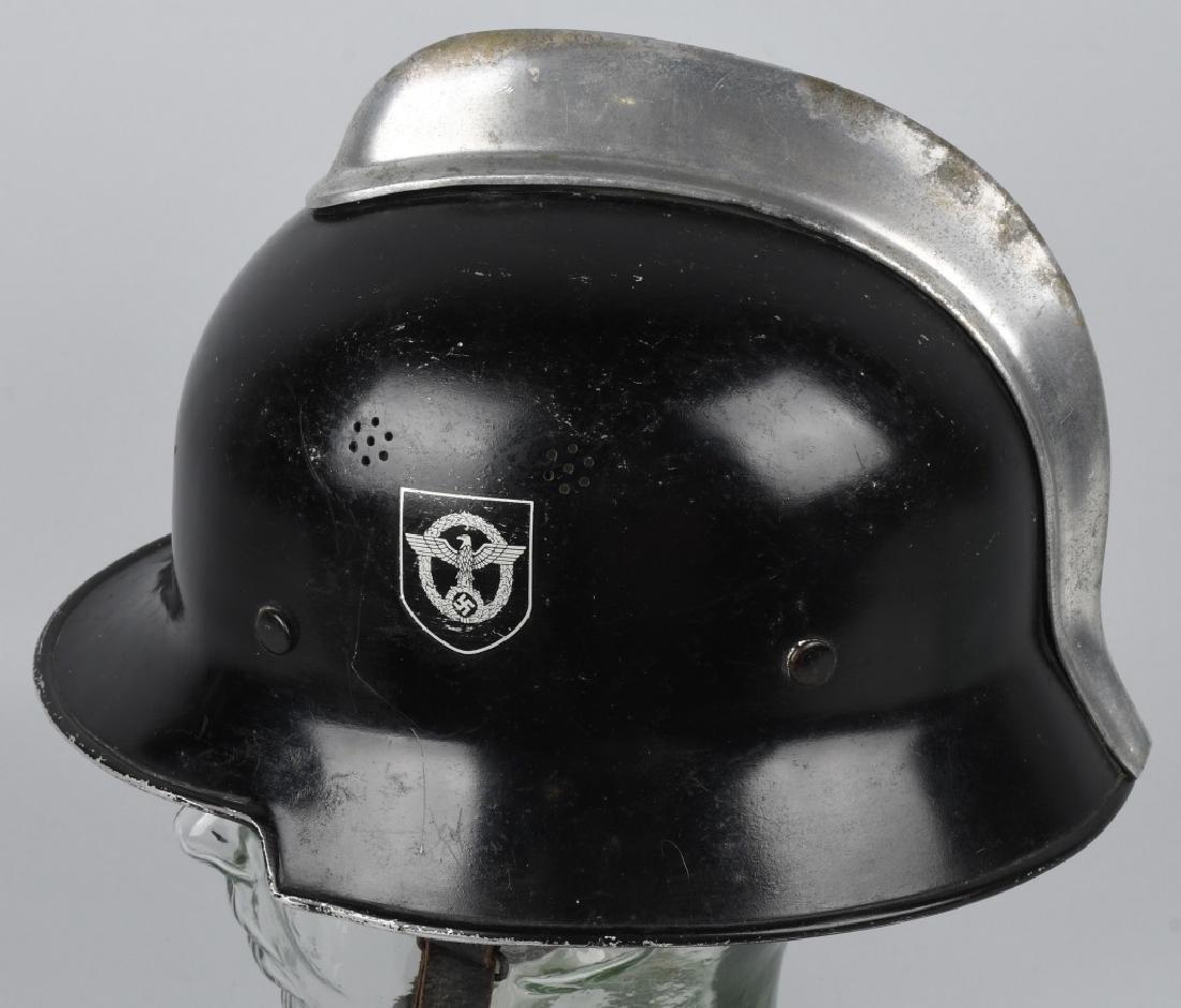 WWII NAZI GERMAN FIRE POLICE DOUBLE DECAL HELMET - 2