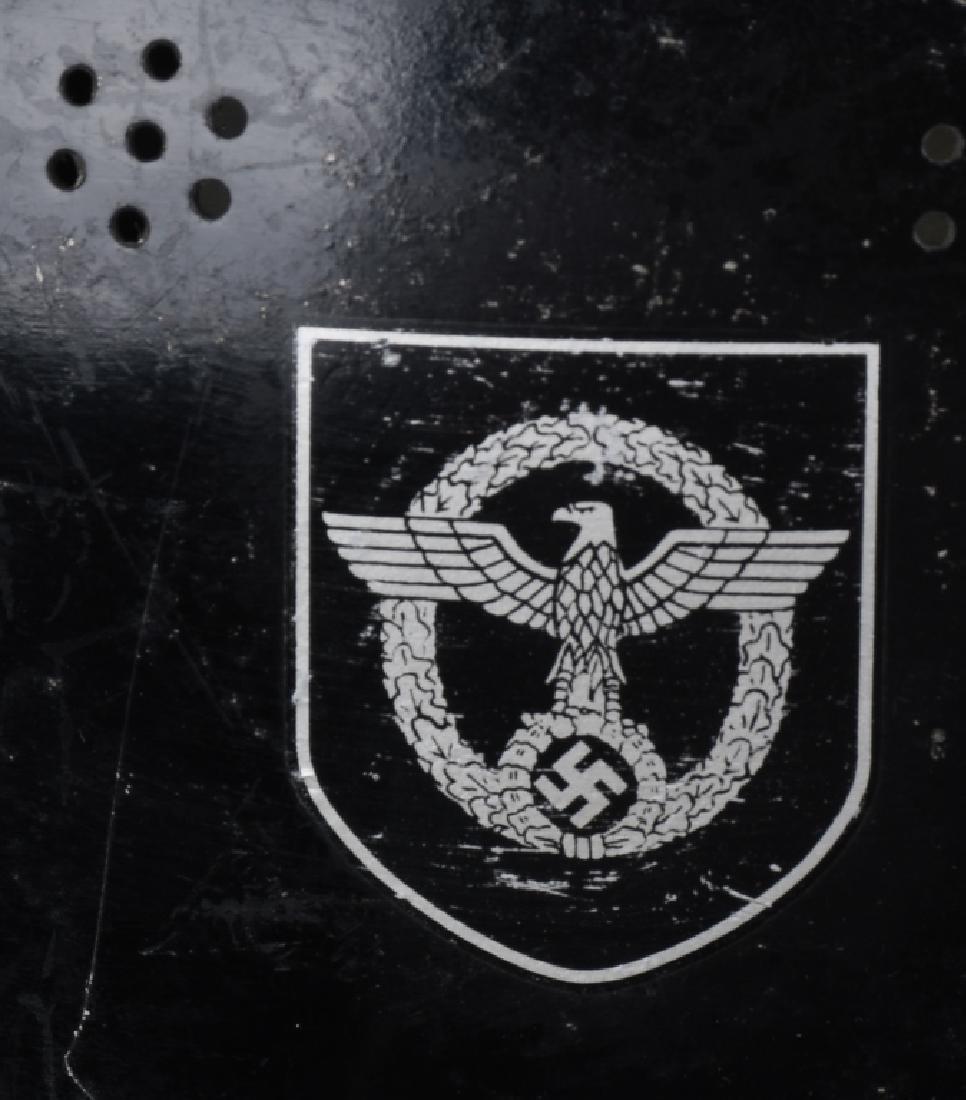 WWII NAZI GERMAN FIRE POLICE DOUBLE DECAL HELMET - 3