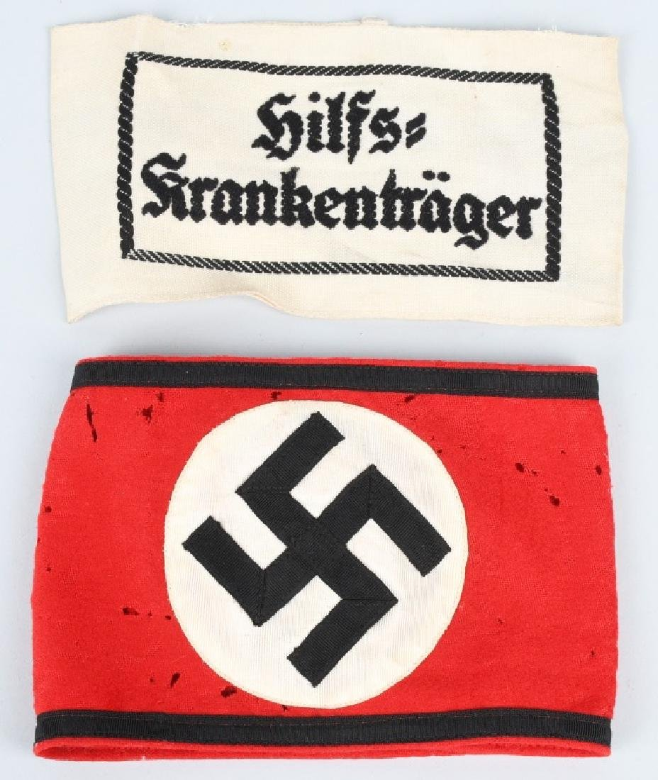 WWII NAZI GERMAN ARMBAND LOT - SS & STRETCHER