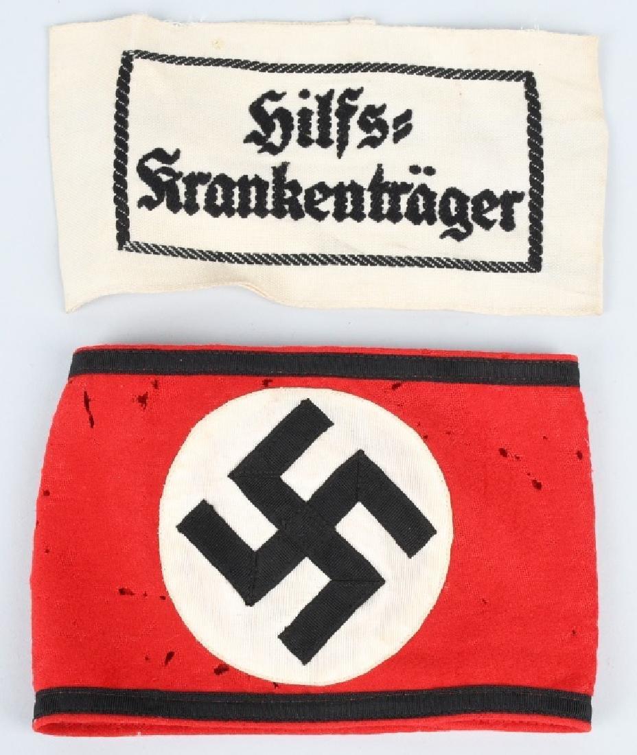 WWII NAZI GERMAN ARMBAND LOT - SS & STRETCHER