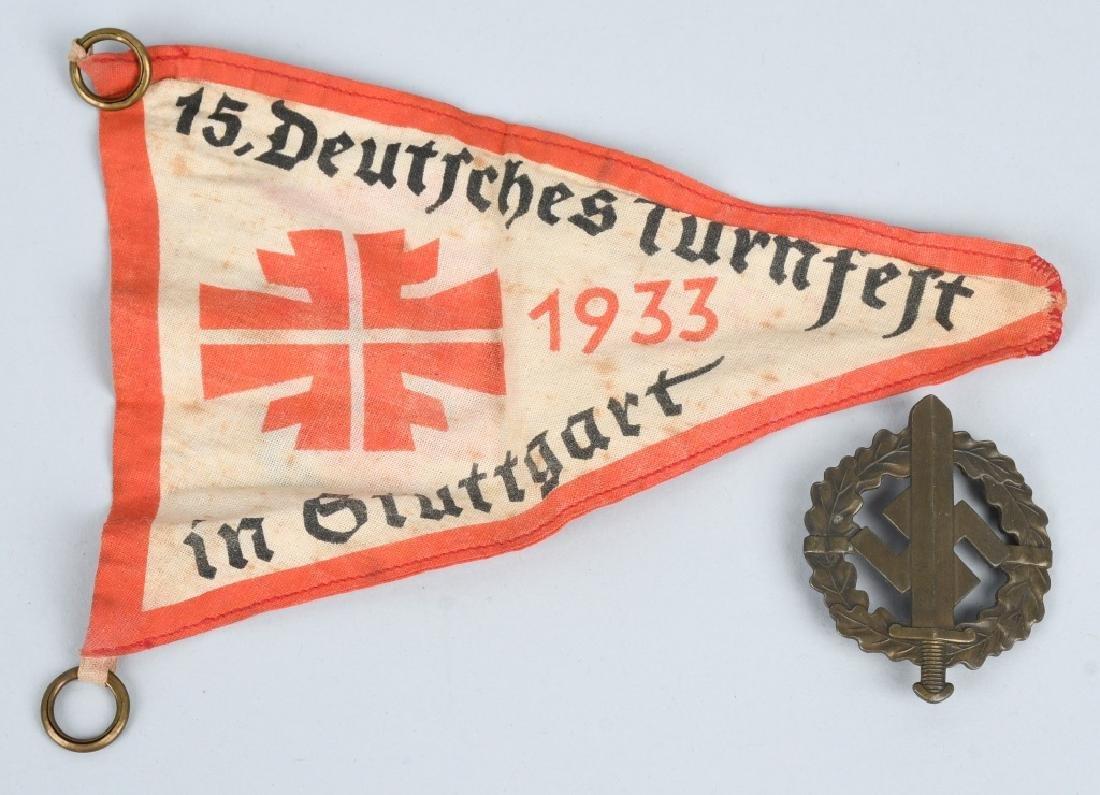 WWII NAZI GERMAN TURNFELT & STUTTGART FLAG & BADGE