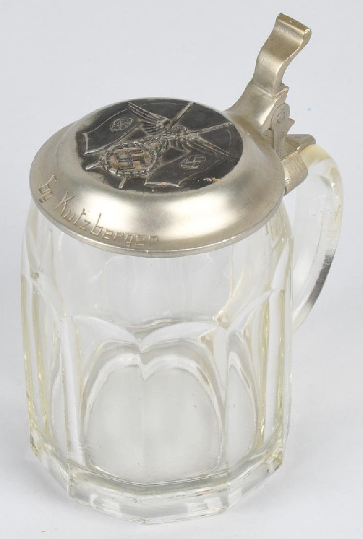 WWII NAZI GERMAN GLASS BEER STEIN - NAMED