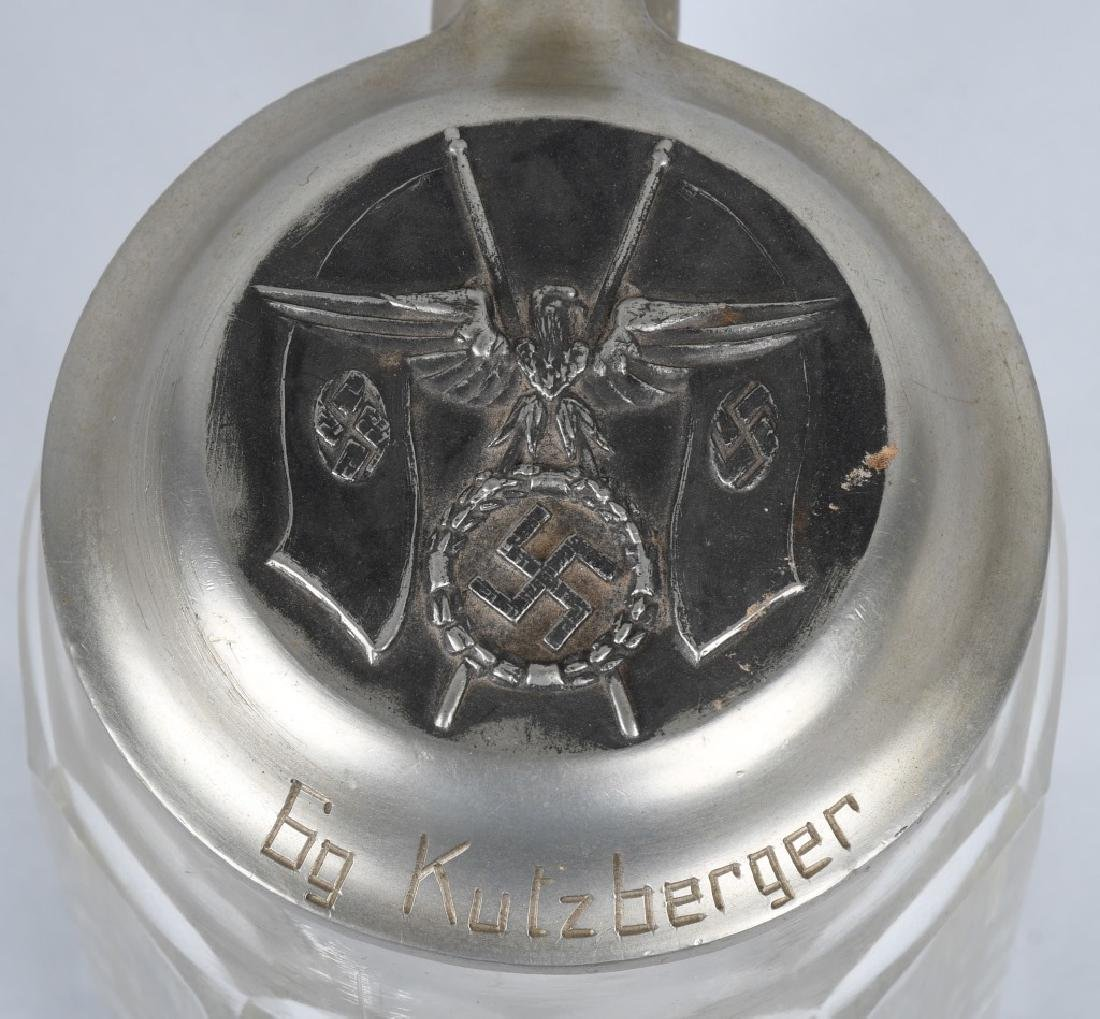 WWII NAZI GERMAN GLASS BEER STEIN - NAMED - 2
