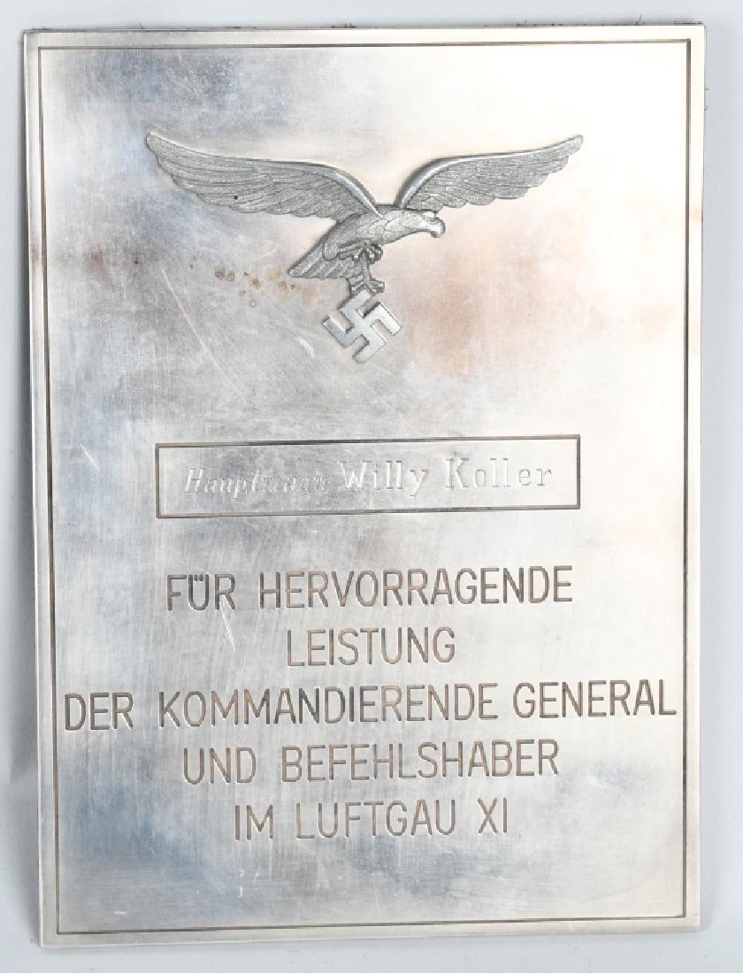 WWII NAZI GERMAN LUFTWAFFE NAMED PLAQUE