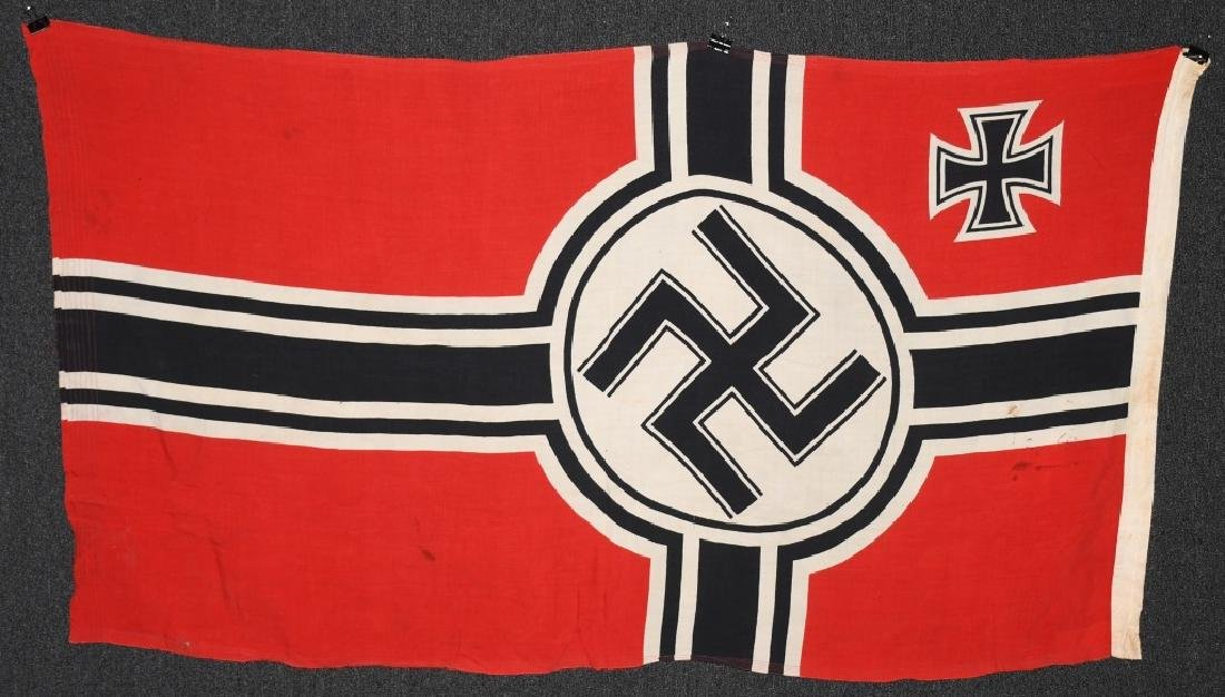 WWII NAZI GERMAN KRIEGSMARINE DUTCH MADE FLAG - 9