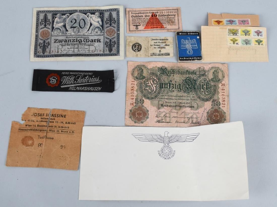 WWII NAZI GERMAN MISC. EPHEMERA & TAG LOT