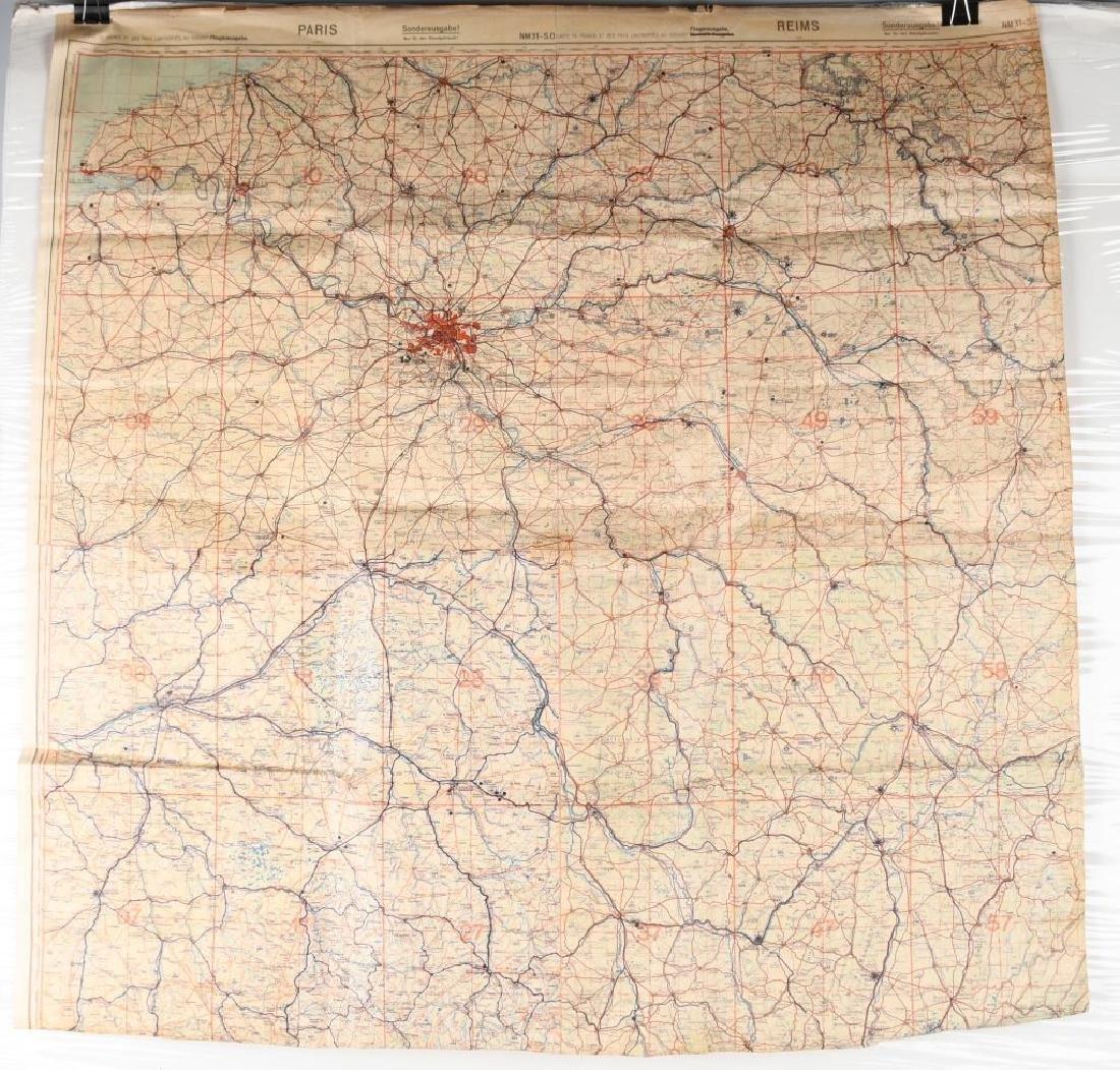 WWII NAZI LUFTWAFFE PILOT MAP PARIS REIMS FRANCE