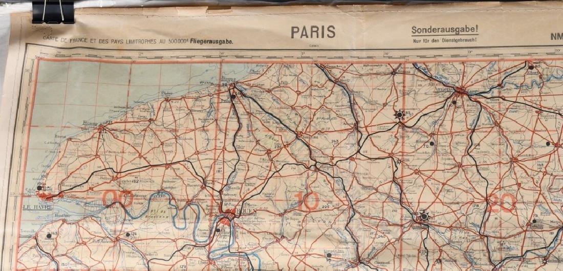 WWII NAZI LUFTWAFFE PILOT MAP PARIS REIMS FRANCE - 2