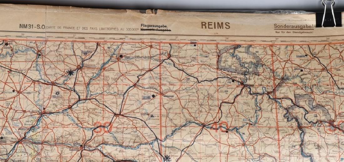 WWII NAZI LUFTWAFFE PILOT MAP PARIS REIMS FRANCE - 3