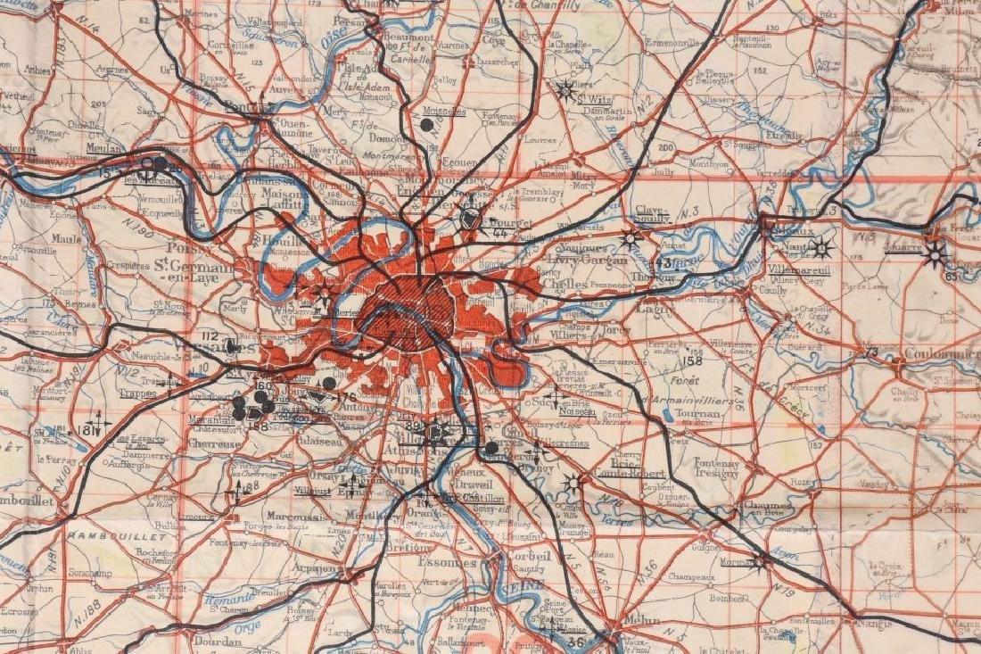 WWII NAZI LUFTWAFFE PILOT MAP PARIS REIMS FRANCE - 7