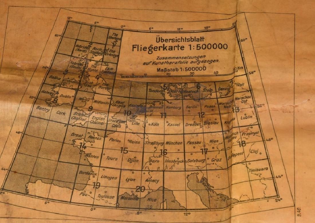 WWII NAZI LUFTWAFFE PILOT MAP PARIS REIMS FRANCE - 9