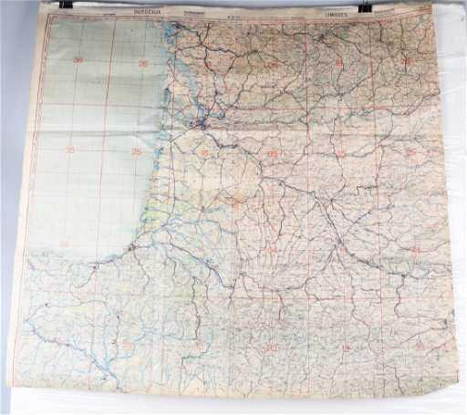 Limoges France Map.Wwii Luftwaffe Pilot Map Bordeaux Limoges France