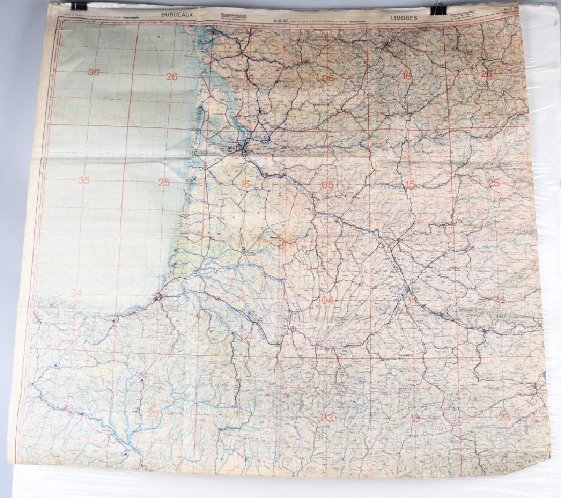 WWII LUFTWAFFE PILOT MAP BORDEAUX LIMOGES FRANCE
