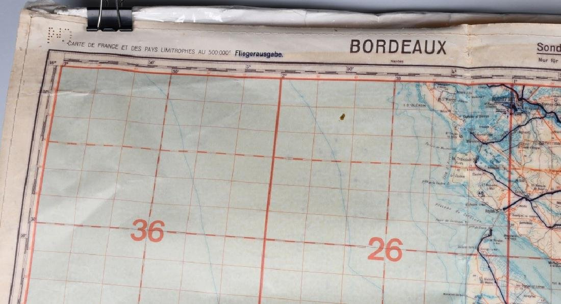 WWII LUFTWAFFE PILOT MAP BORDEAUX LIMOGES FRANCE - 2