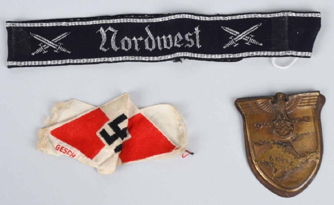 WWII NAZI GERMAN KRIM SHIELD HJ PATCH & CUFF TITLE