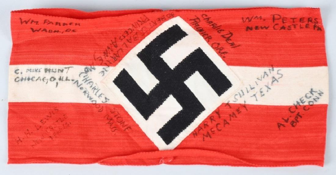 WWII NAZI GERMAN SOUVENIR HJ ARMBAND SIGNED BY GIs