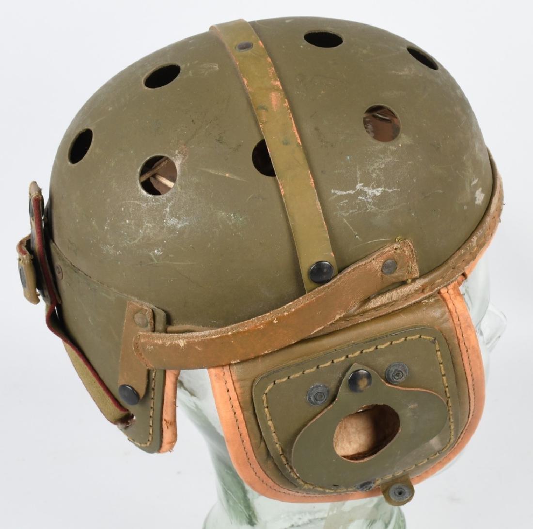 WW2 US M38 LEATHER TANKER HELMET BY RAWLINGS - 4