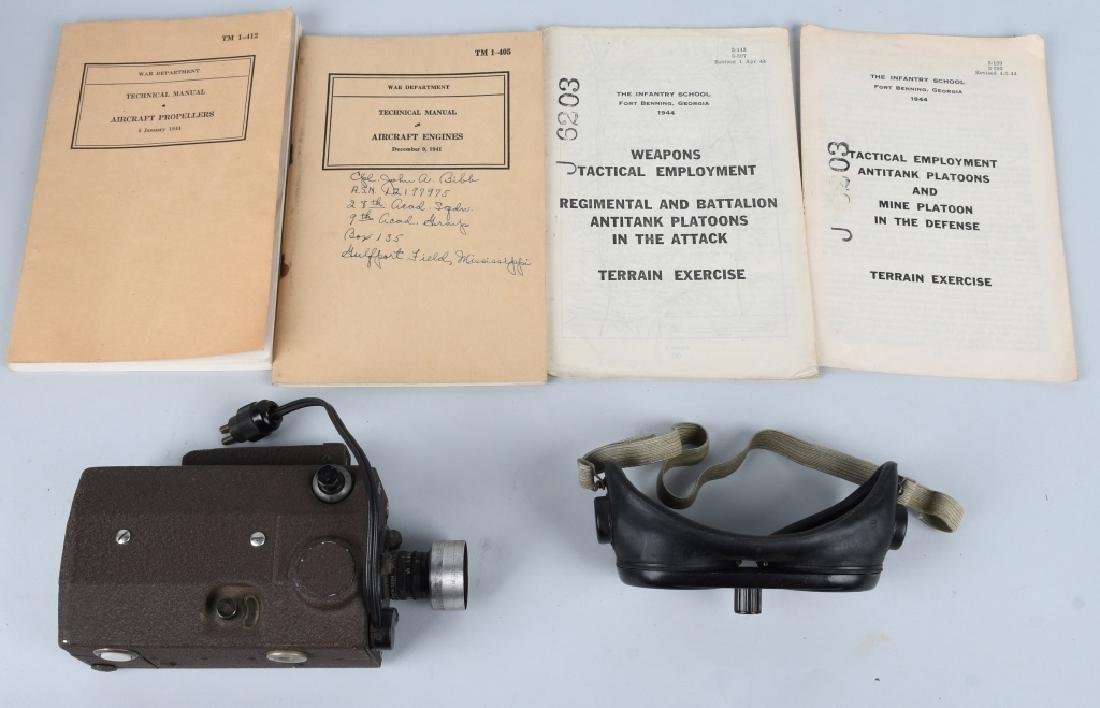 WWII US LOT INCLUDING N-6 CAMERA, GOGGLES MANUALS