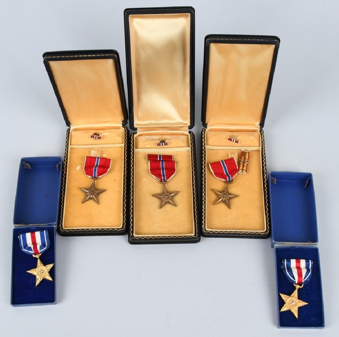 WWII U.S. CASED BRONZE STAR & SLIVER STAR LOT