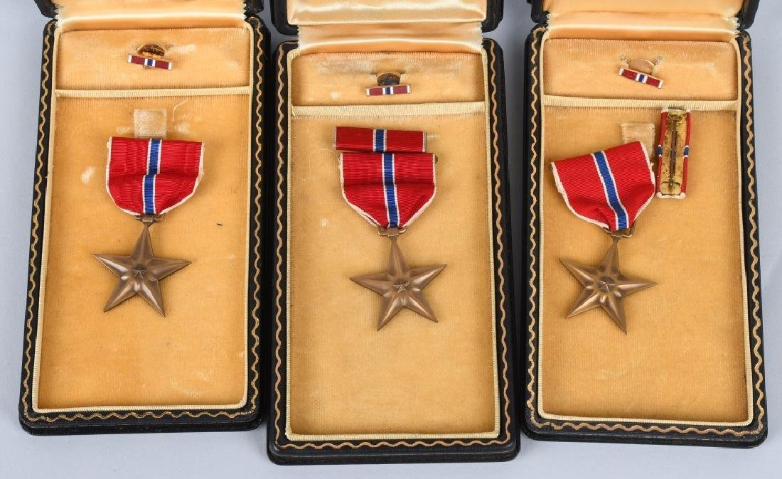 WWII U.S. CASED BRONZE STAR & SLIVER STAR LOT - 2